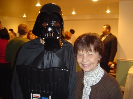 Darth Vaders talks politics with lunch monitor Mrs. Palmer.
