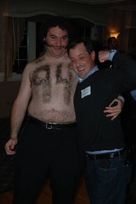 Nobes shaved his chest too, but forgot to take off his shirt.